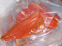 Smoked trout vacuum packed